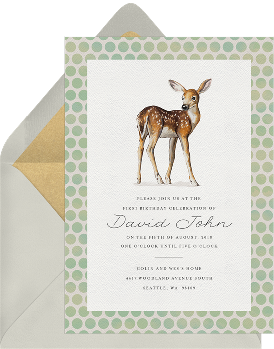 Cheerful Deer woodland baby shower invitations from Greenvelope