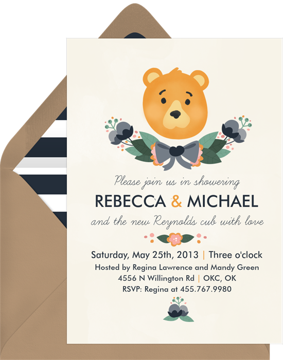 Little Cub woodland baby shower invitations from Greenvelope