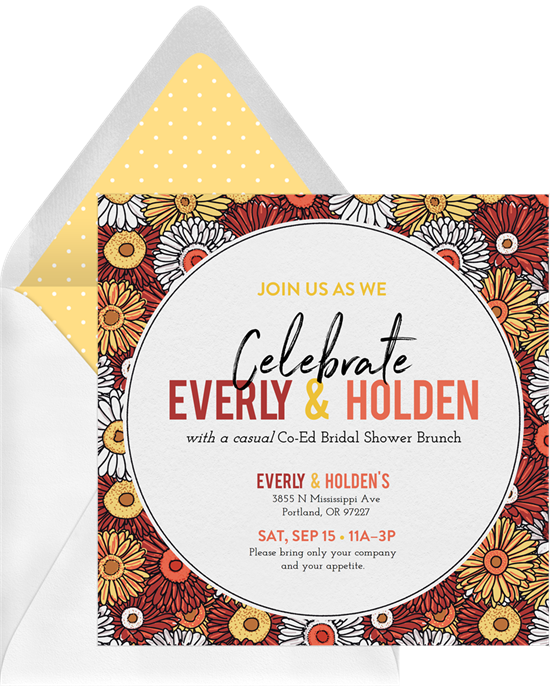 """Bridal shower invitation wording: an invitation that reads, """"Join Us as We Celebrate"""""""