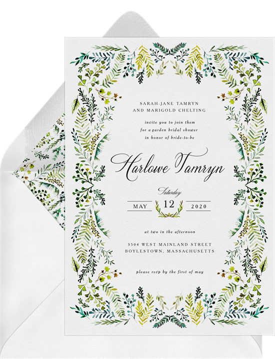 Bridal shower invitation wording: an invitation that states the hosts' names