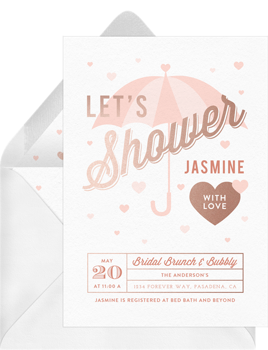 """Bridal shower invitation wording: an invitation that reads, """"Let's Shower Jasmine with Love"""""""