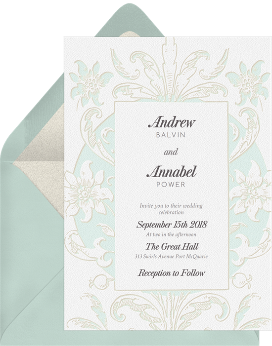 Vintage Romance wedding invitations from Greenvelope