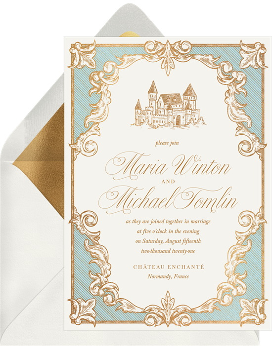 Once Upon a Time vintage wedding invitations from Greenvelope