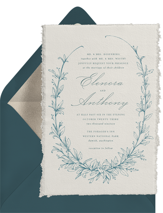 Botanique vintage wedding invitations from Greenvelope