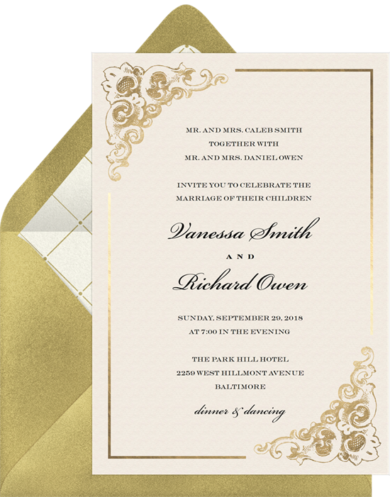 Baroque Corners vintage wedding invitations from Greenvelope