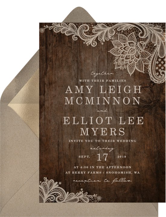 Rustic Lace vintage wedding invitations from Greenvelope