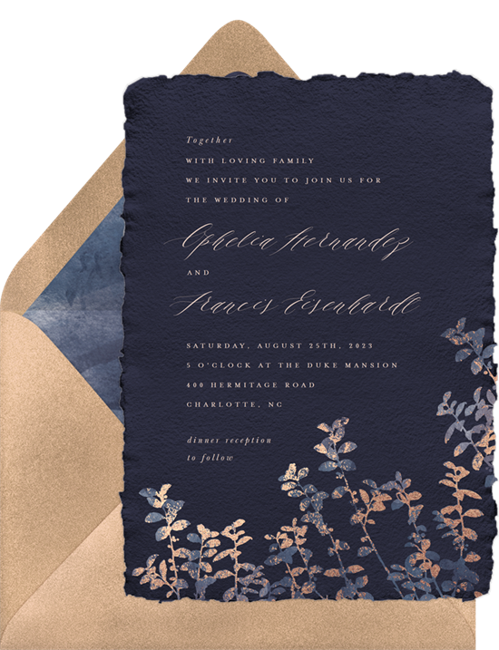 Watercolor Botanicals vintage wedding invitations from Greenvelope