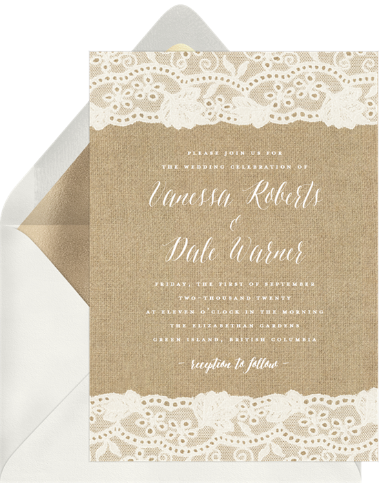 Burlap and Lace vintage wedding invitations from Greenvelope