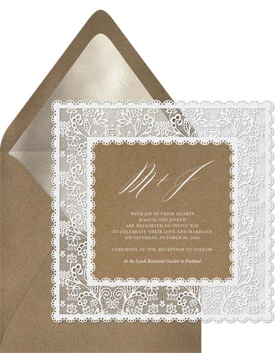 Lovely Lace vintage wedding invitations from Greenvelope
