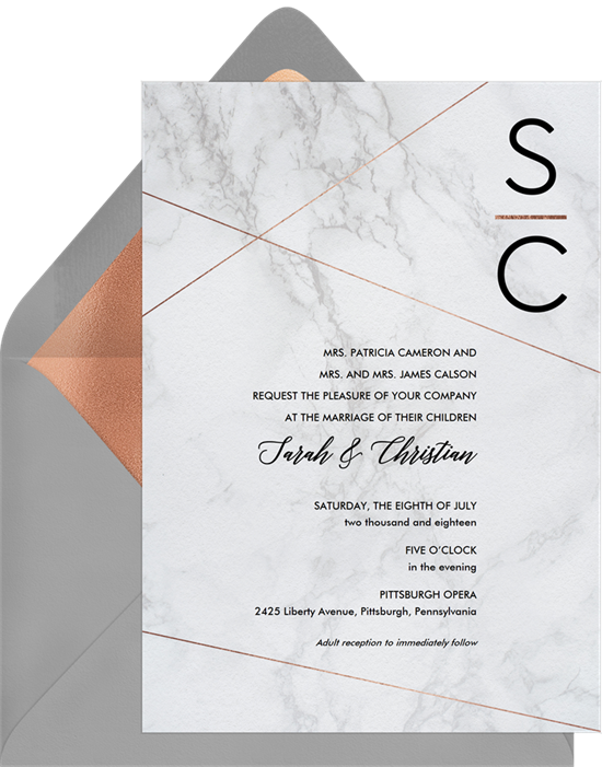 Chic Marble simple wedding invitations from Greenvelope