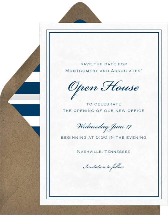 Marble Toast open house invitation from Greenvelope