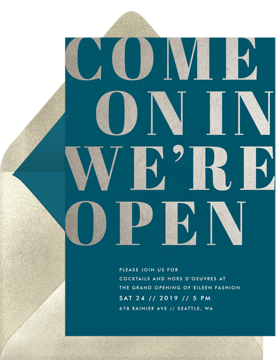Come On In open house invitation from Greenvelope
