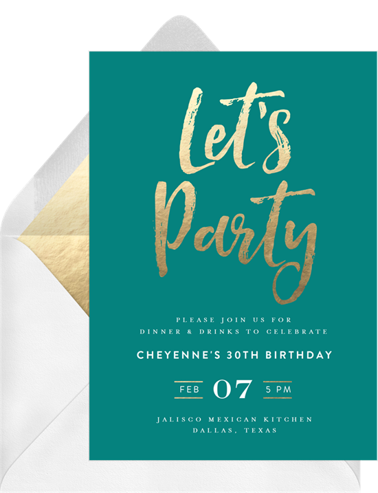Chic Party open house invitation from Greenvelope