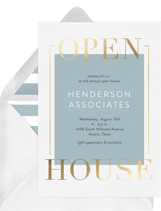 Open House Frame invitation from Greenvelope