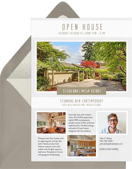 Grid and Banner open house invitation from Greenvelope