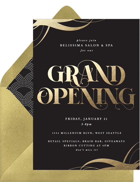 Grand Gold open house invitation from Greenvelope