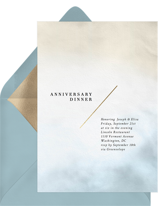 Two-Tone Watercolor Wash anniversary invitations from Greenvelope