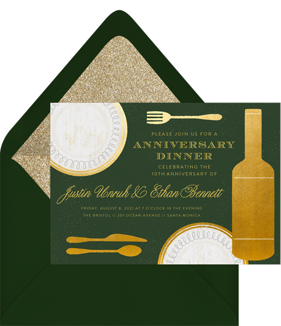 Gilded Place Setting 50th anniversary invitations from Greenvelope