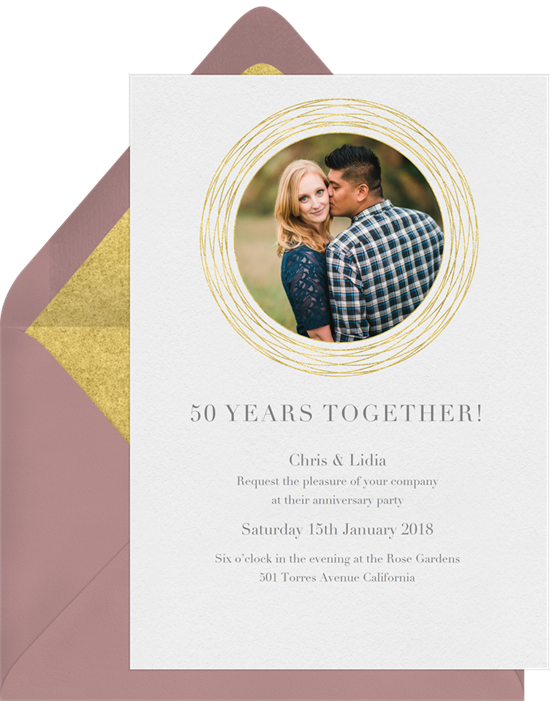 In the Spotlight 50th anniversary invitations from Greenvelope