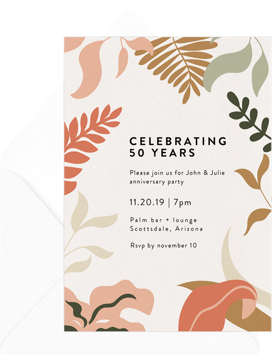 Florescence 50th anniversary invitations from Greenvelope