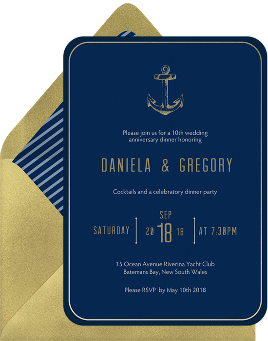 Golden Anchor 50th anniversary invitations from Greenvelope