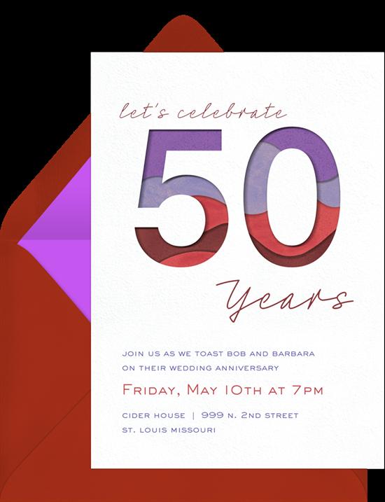 Layered 50th anniversary invitations from Greenvelope