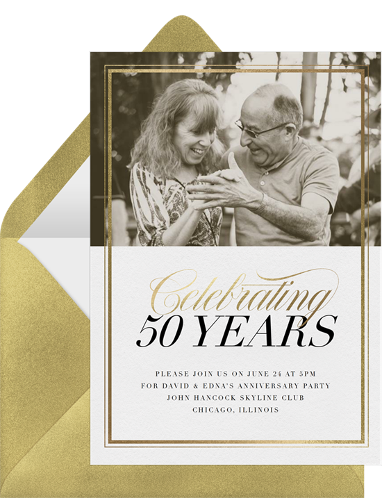 Gold Frame 50th anniversary invitations from Greenvelope