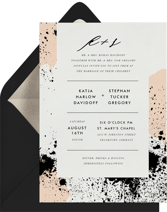 Scandi Splatter simple wedding invitations from Greenvelope