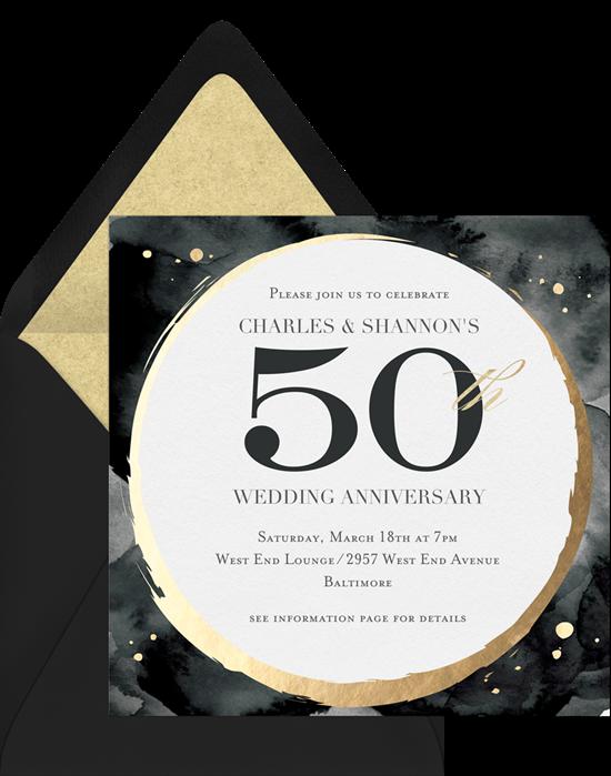 Milestone Circlet 50th anniversary invitations from Greenvelope