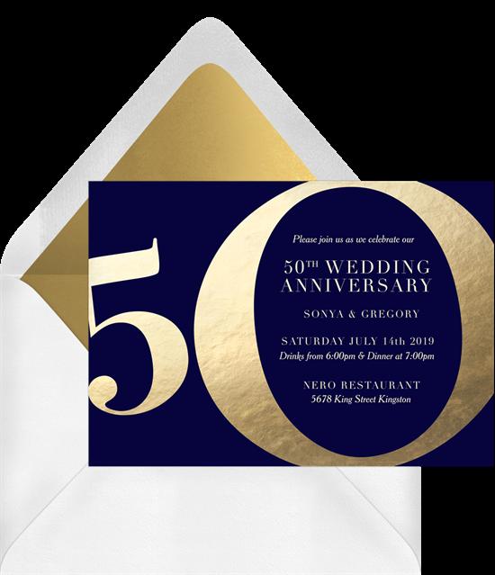 Golden 50th anniversary invitations from Greenvelope
