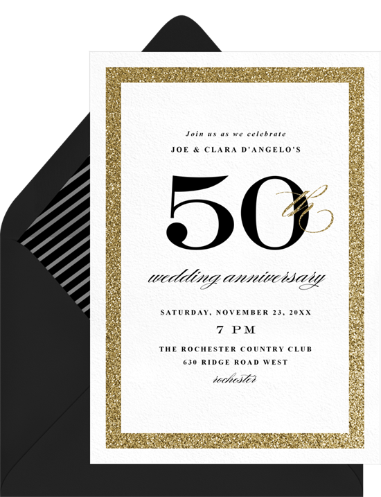 Sophisticated 50th anniversary invitations from Greenvelope