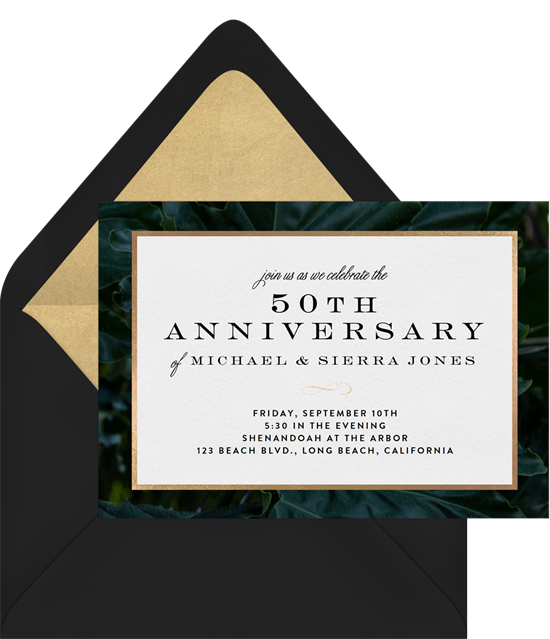 Luxurious Leaves 50th anniversary invitations from Greenvelope