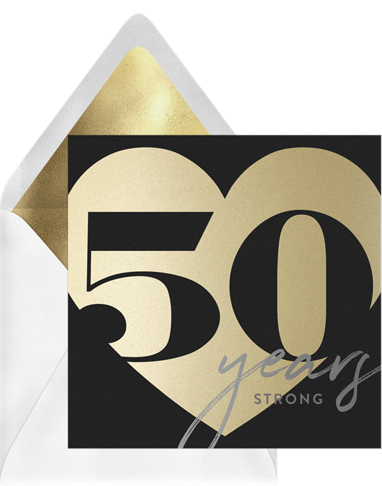 50 Milestone Heart anniversary invitations from Greenvelope
