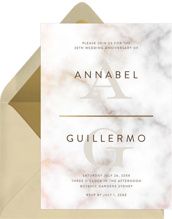 Modern Marble Texture 50th anniversary invitations from Greenvelope