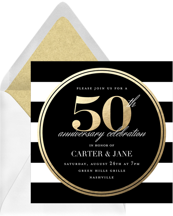 50th Celebration anniversary invitations from Greenvelope