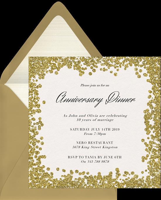 Glitter Paint 50th anniversary invitations from Greenvelope