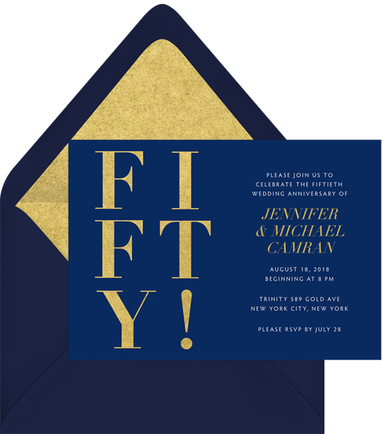 Fifty! anniversary invitations from Greenvelope