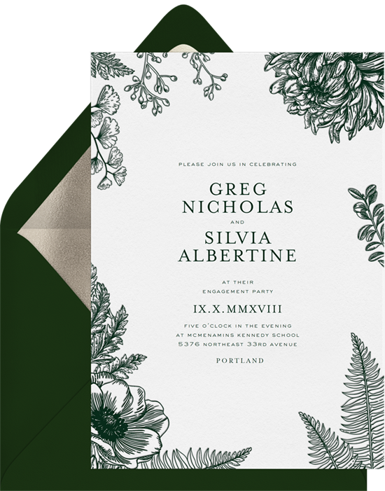 Letterpress Botanical wedding invitations from Greenvelope