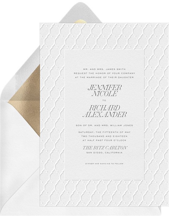 Minimal Moroccan letterpress wedding invitations from Greenvelope