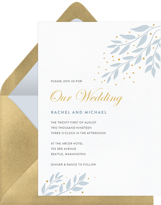 Luxe Leaves letterpress wedding invitations from Greenvelope