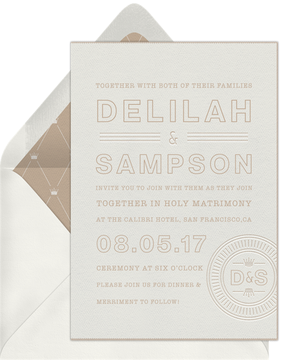 Royal Monogram letterpress wedding invitations from Greenvelope