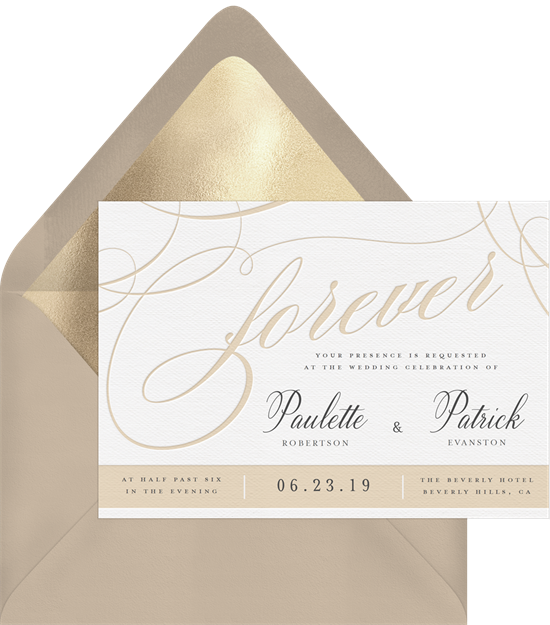Beautiful Forever letterpress wedding invitations from Greenvelope