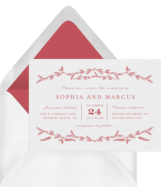 Rustic Pine Garlands letterpress wedding invitations from Greenvelope