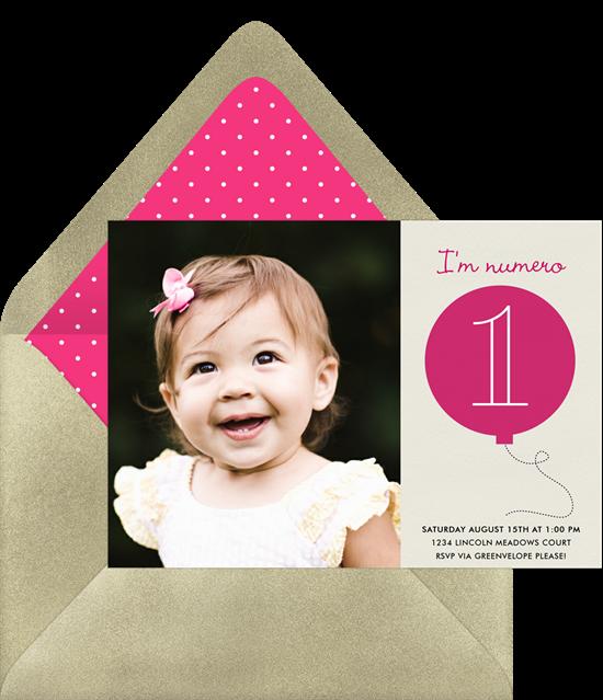 "Birthday invitation wording: A kid's birthday invite that reads ""I'm numero 1"""