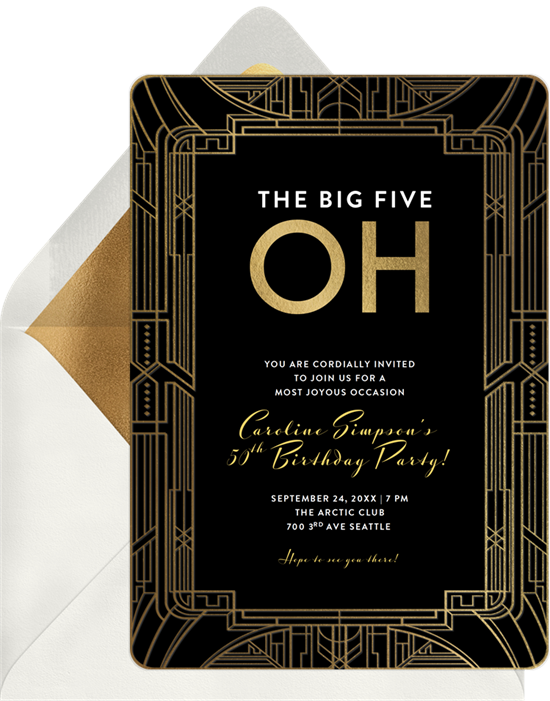 """Birthday invitation wording: An invite that reads """"The big five oh"""""""