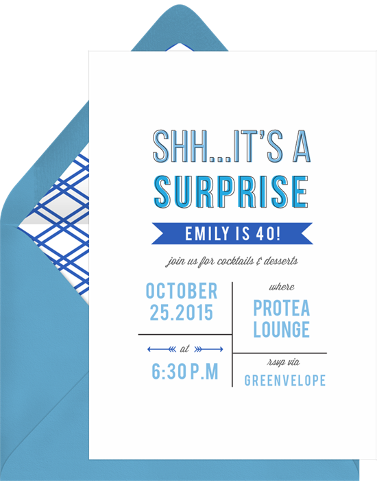 """Birthday invitation wording: An invite that reads """"Shh...It's a surprise"""""""