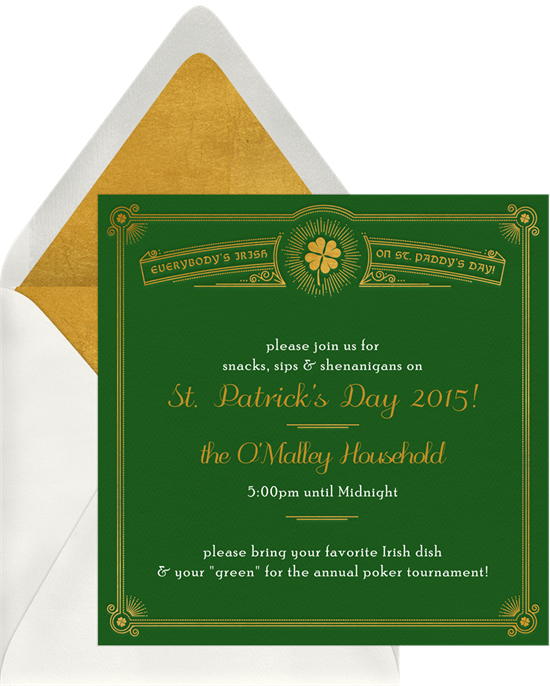 """St. Patrick's Day sayings: a card that reads, """"Please join us for snacks, sips, and shenanigans"""""""