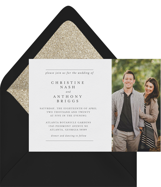 Wedding words: A wedding invitation with a photo and envelope