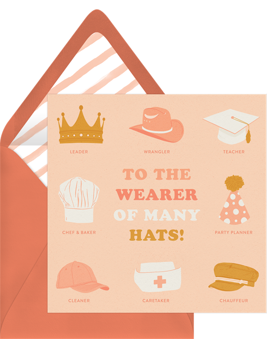 Funny Mother's Day cards: Many Hats invitation by Greenvelope
