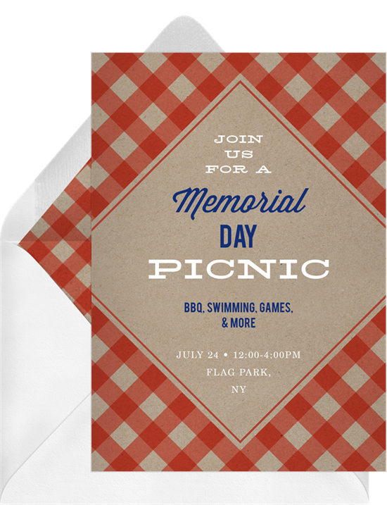 Memorial day picnic invitation with message